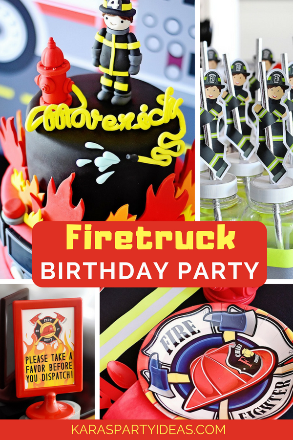 Firetruck Birthday Party via Kara_s Party Ideas - KarasPartyIdeas.com