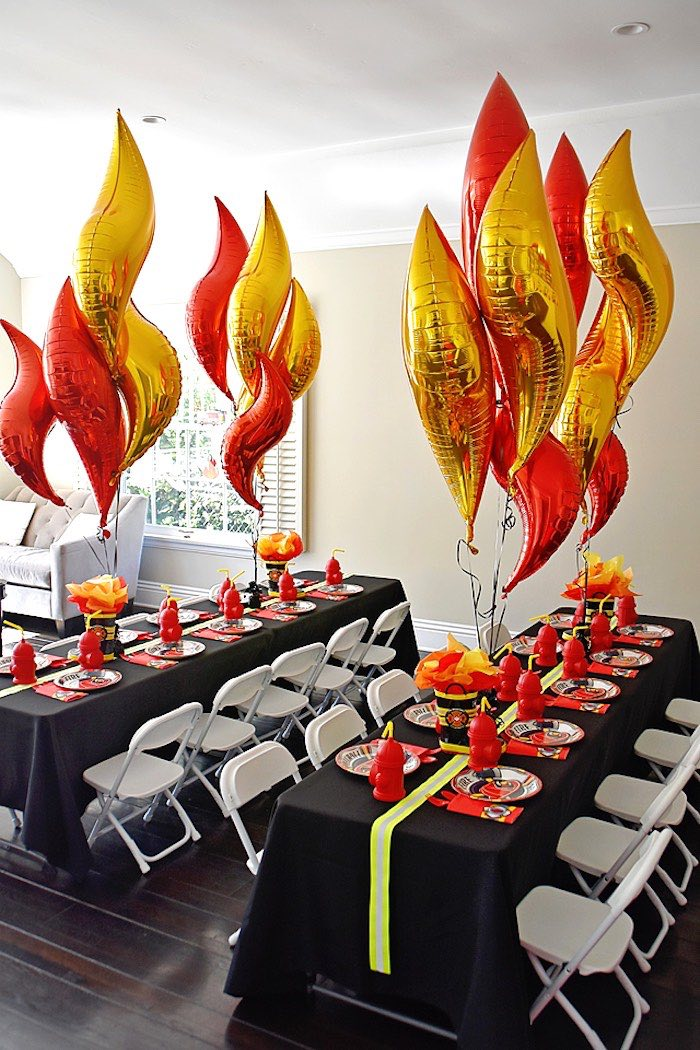 Fire-inspired Guest Tables from a Firetruck Birthday Party on Kara's Party Ideas | KarasPartyIdeas.com (30)