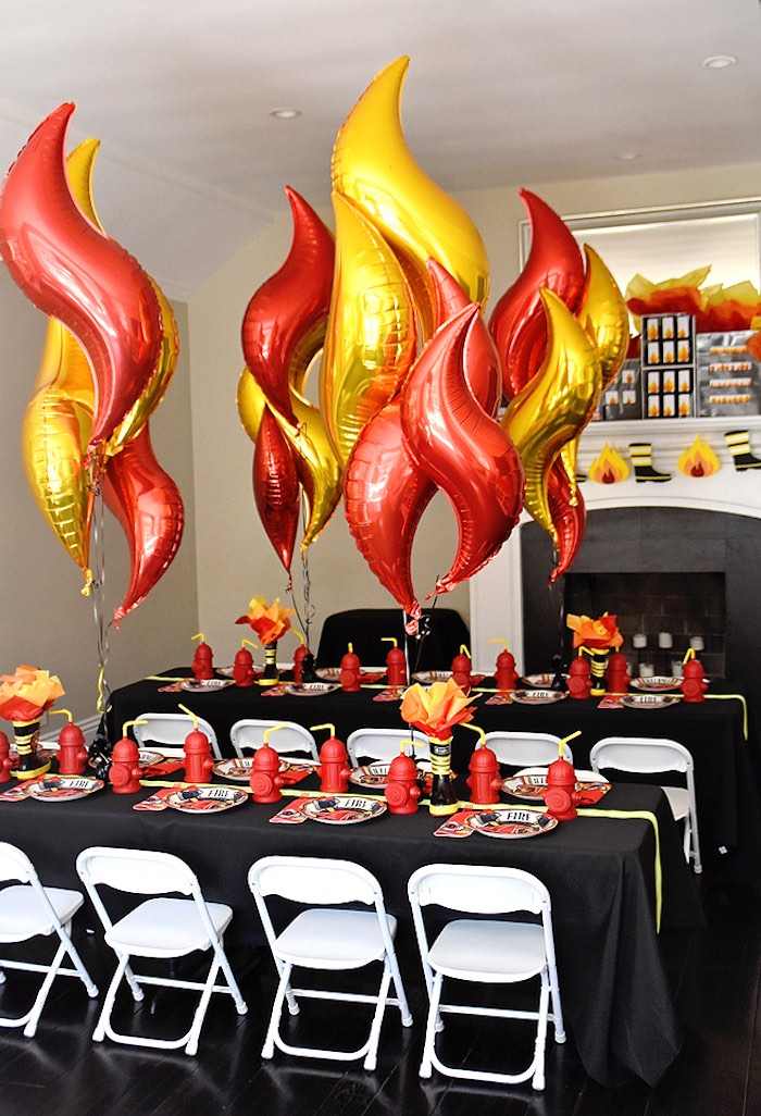 Fire-inspired Guest Tables from a Firetruck Birthday Party on Kara's Party Ideas | KarasPartyIdeas.com (28)
