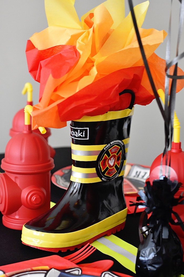 Fiery Firefighter Boot Table Centerpiece from a Firetruck Birthday Party on Kara's Party Ideas | KarasPartyIdeas.com (27)