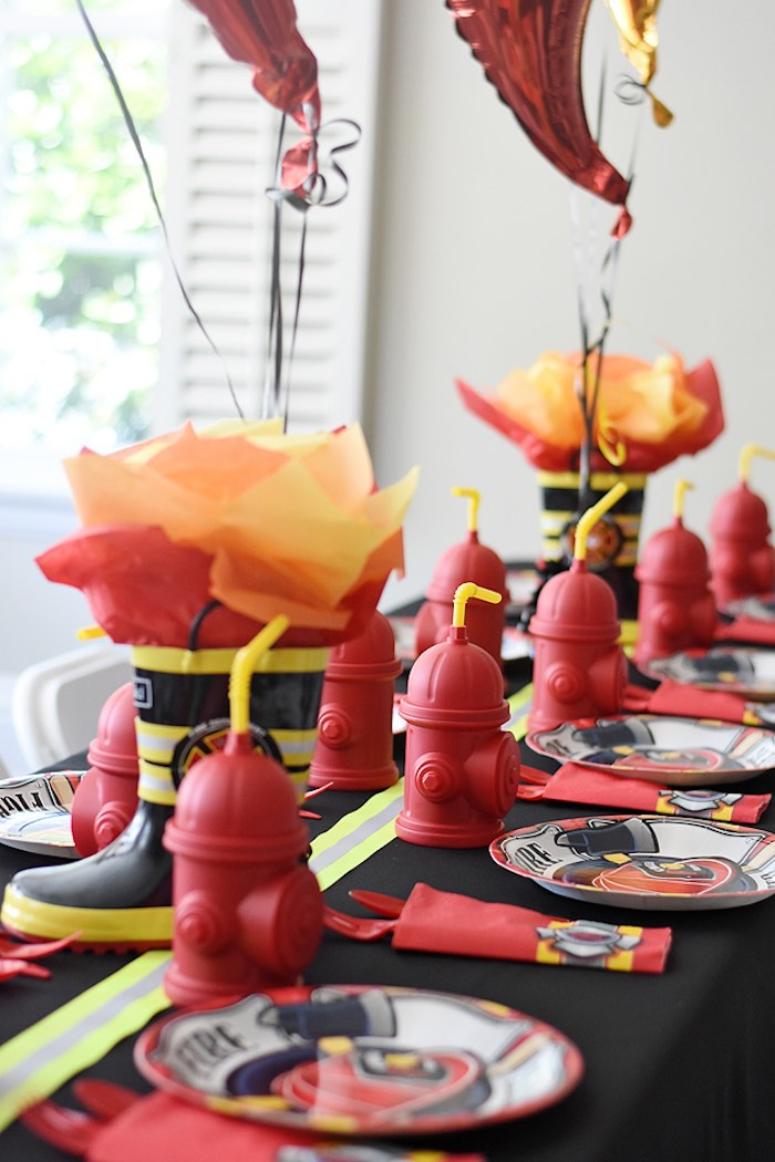Firefighter Themed Guest Tablescape from a Firetruck Birthday Party on Kara's Party Ideas | KarasPartyIdeas.com (26)
