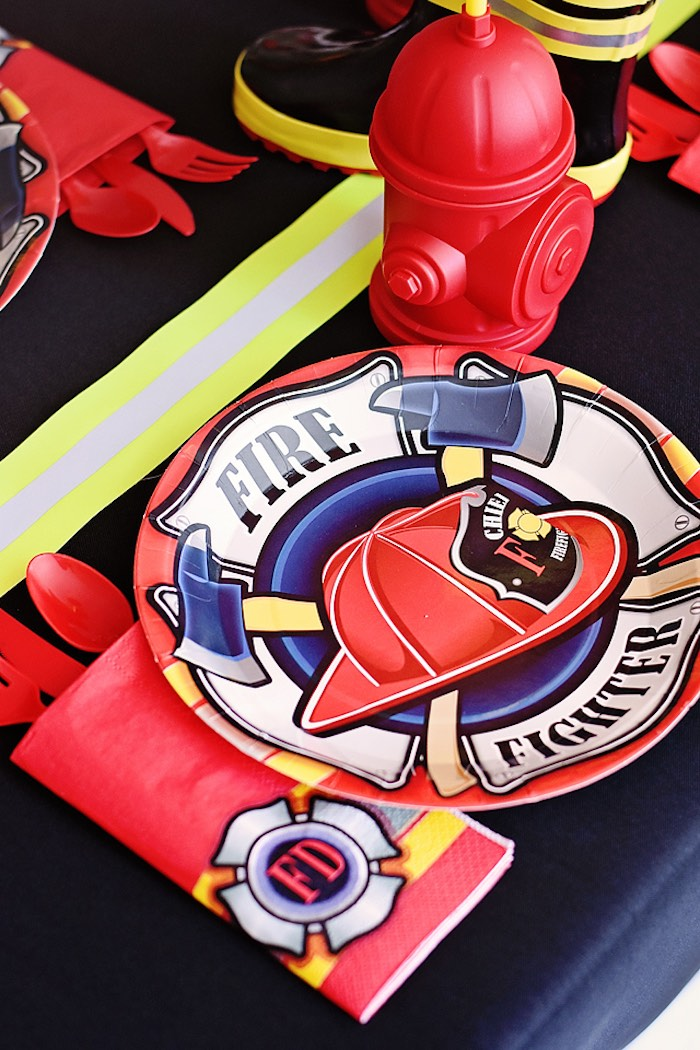 Firefighter Table Setting from a Firetruck Birthday Party on Kara's Party Ideas | KarasPartyIdeas.com (25)
