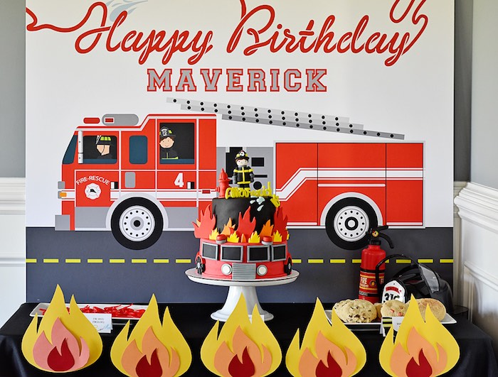 Firetruck Cake Table from a Firetruck Birthday Party on Kara's Party Ideas | KarasPartyIdeas.com (23)