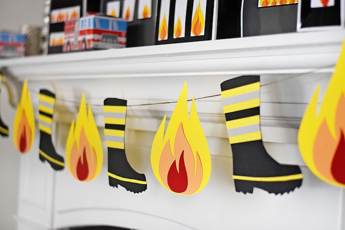 Fire + Firefighter Boot Banner from a Firetruck Birthday Party on Kara's Party Ideas | KarasPartyIdeas.com (22)