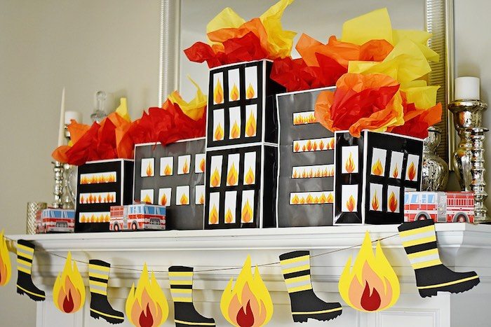 Burning Building Gift Bags + Decor from a Firetruck Birthday Party on Kara's Party Ideas | KarasPartyIdeas.com (20)