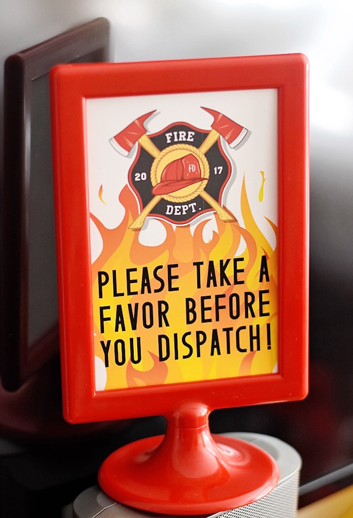 Favor Dispatch Print + Signage from a Firetruck Birthday Party on Kara's Party Ideas | KarasPartyIdeas.com (17)