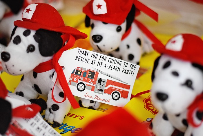 Plush Dalmatian Favors from a Firetruck Birthday Party on Kara's Party Ideas | KarasPartyIdeas.com (16)