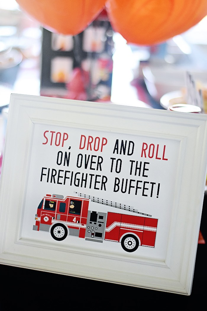 Stop Drop & Roll Food Table Signage from a Firetruck Birthday Party on Kara's Party Ideas | KarasPartyIdeas.com (15)