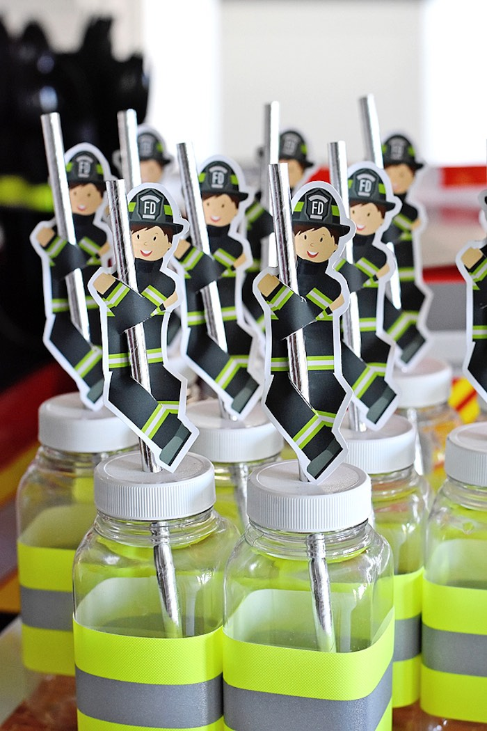 Sliding Firefighter Drinks + Pole Straws from a Firetruck Birthday Party on Kara's Party Ideas | KarasPartyIdeas.com (13)