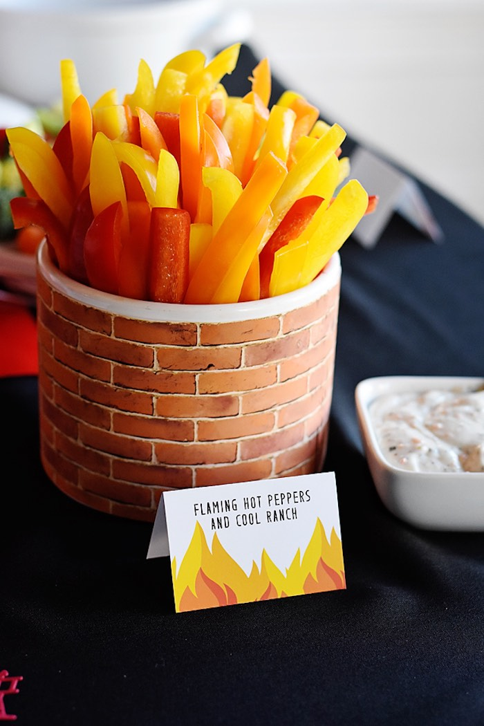 Fire Label + Flaming Hot Peppers & Ranch from a Firetruck Birthday Party on Kara's Party Ideas | KarasPartyIdeas.com (11)