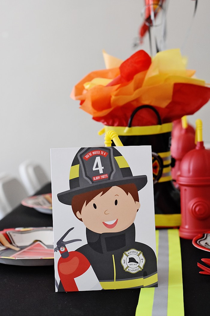 Fireman Print from a Firetruck Birthday Party on Kara's Party Ideas | KarasPartyIdeas.com (38)