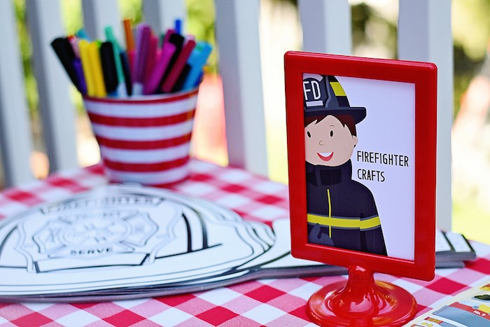 Firefighter Crafts from a Firetruck Birthday Party on Kara's Party Ideas | KarasPartyIdeas.com (10)