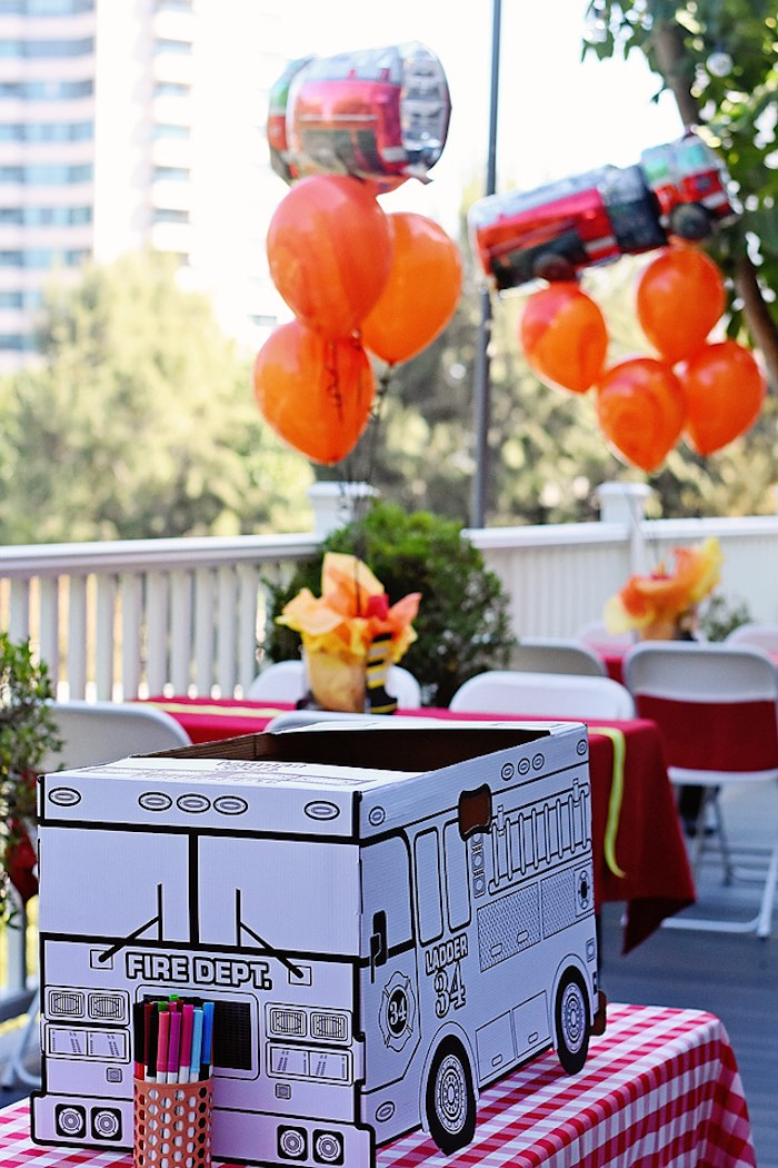 Firefighter Craft Tables from a Firetruck Birthday Party on Kara's Party Ideas | KarasPartyIdeas.com (9)