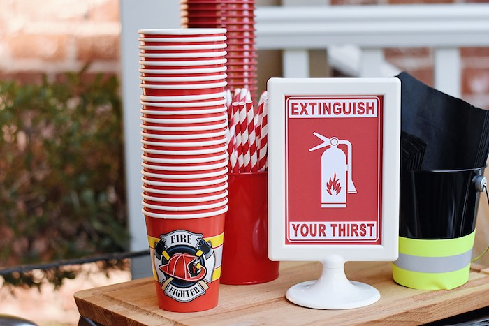 Extinguish Your Thirst Beverage Table from a Firetruck Birthday Party on Kara's Party Ideas | KarasPartyIdeas.com (8)
