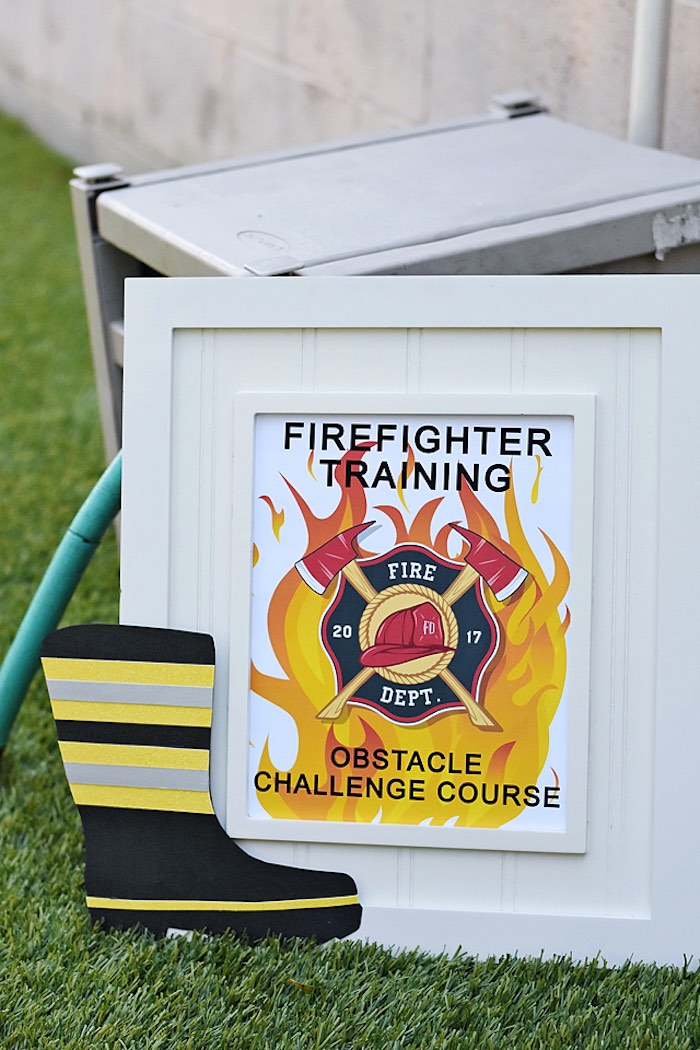 Firefighter Training + Obstacle Course Signage from a Firetruck Birthday Party on Kara's Party Ideas | KarasPartyIdeas.com (7)