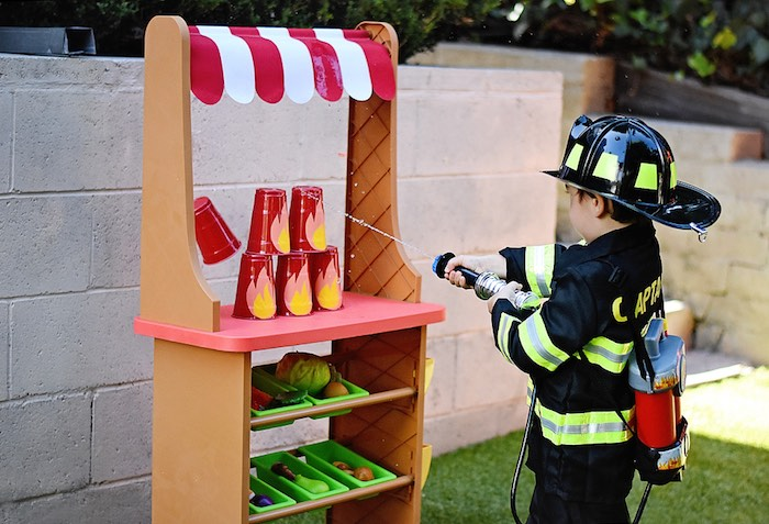 Firefighter Training + Water Hose Game from a Firetruck Birthday Party on Kara's Party Ideas | KarasPartyIdeas.com (5)