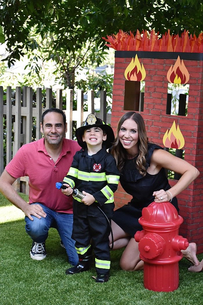 Burning Building Backdrop from a Firetruck Birthday Party on Kara's Party Ideas | KarasPartyIdeas.com (4)