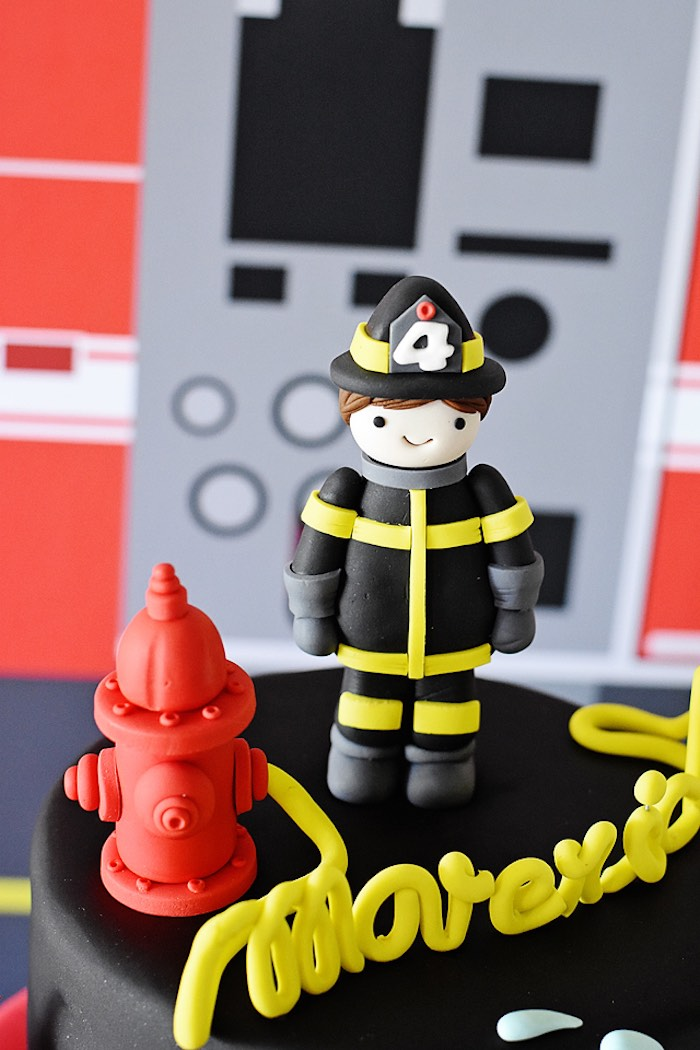Firefighter Cake Topper from a Firetruck Birthday Party on Kara's Party Ideas | KarasPartyIdeas.com (35)