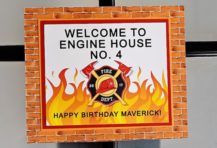 Firefighter Themed Welcome Sign from a Firetruck Birthday Party on Kara's Party Ideas | KarasPartyIdeas.com (33)