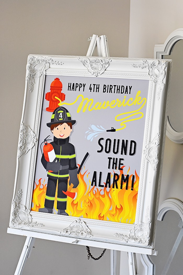 Fireman Print + Party Signage from a Firetruck Birthday Party on Kara's Party Ideas | KarasPartyIdeas.com (32)