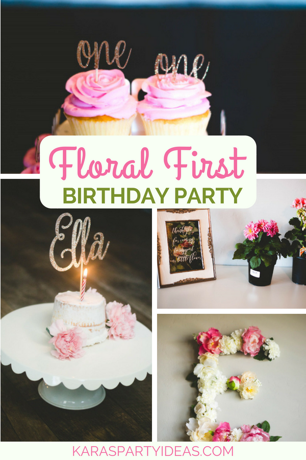 Floral First Birthday Party via Kara_s Party Ideas - KarasPartyIdeas.com