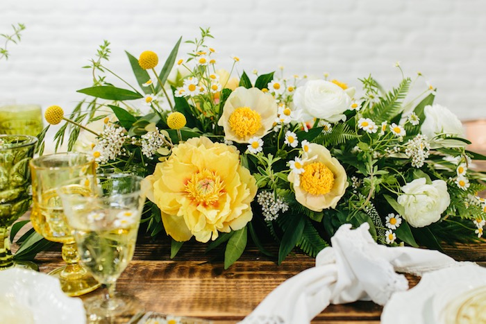 Chamomile Table Centerpiece from a Garden Chamomile Bridal Shower Tea Party on Kara's Party Ideas | KarasPartyIdeas.com (20)