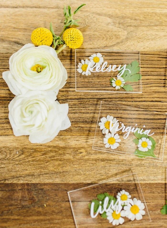 Acrylic Flower Place Cards from a Garden Chamomile Bridal Shower Tea Party on Kara's Party Ideas | KarasPartyIdeas.com (19)