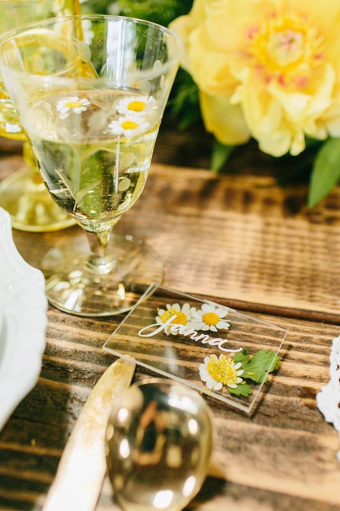 Acrylic Flower Place Card from a Garden Chamomile Bridal Shower Tea Party on Kara's Party Ideas | KarasPartyIdeas.com (18)