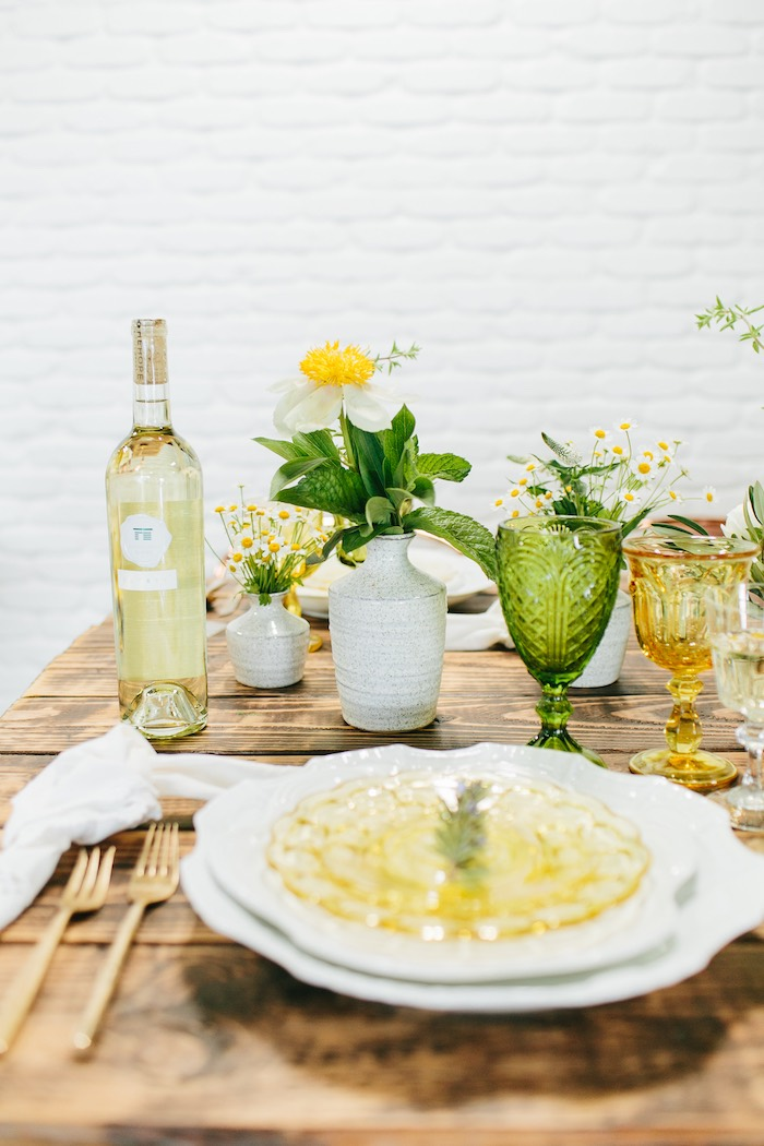Garden Table Setting from a Garden Chamomile Bridal Shower Tea Party on Kara's Party Ideas | KarasPartyIdeas.com (16)