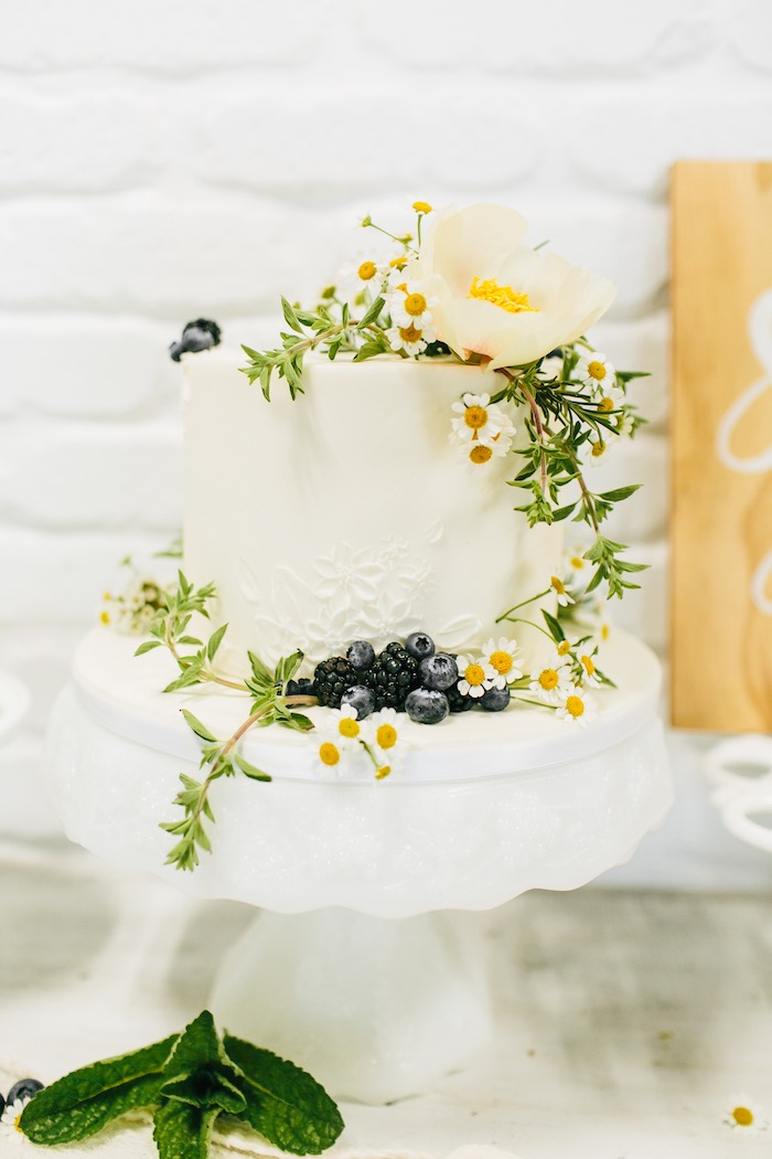 Chamomile-topped Cake from a Garden Chamomile Bridal Shower Tea Party on Kara's Party Ideas | KarasPartyIdeas.com (13)
