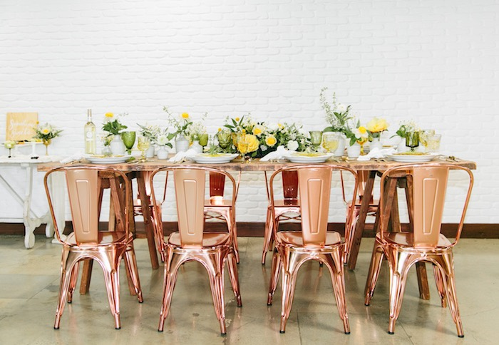 Copper Chair-seated Garden Guest Table from a Garden Chamomile Bridal Shower Tea Party on Kara's Party Ideas | KarasPartyIdeas.com (31)