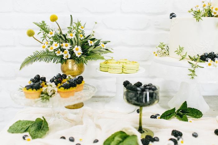 Dessert Table from a Garden Chamomile Bridal Shower Tea Party on Kara's Party Ideas | KarasPartyIdeas.com (7)