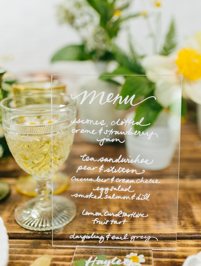 Acrylic Menu from a Garden Chamomile Bridal Shower Tea Party on Kara's Party Ideas | KarasPartyIdeas.com (6)