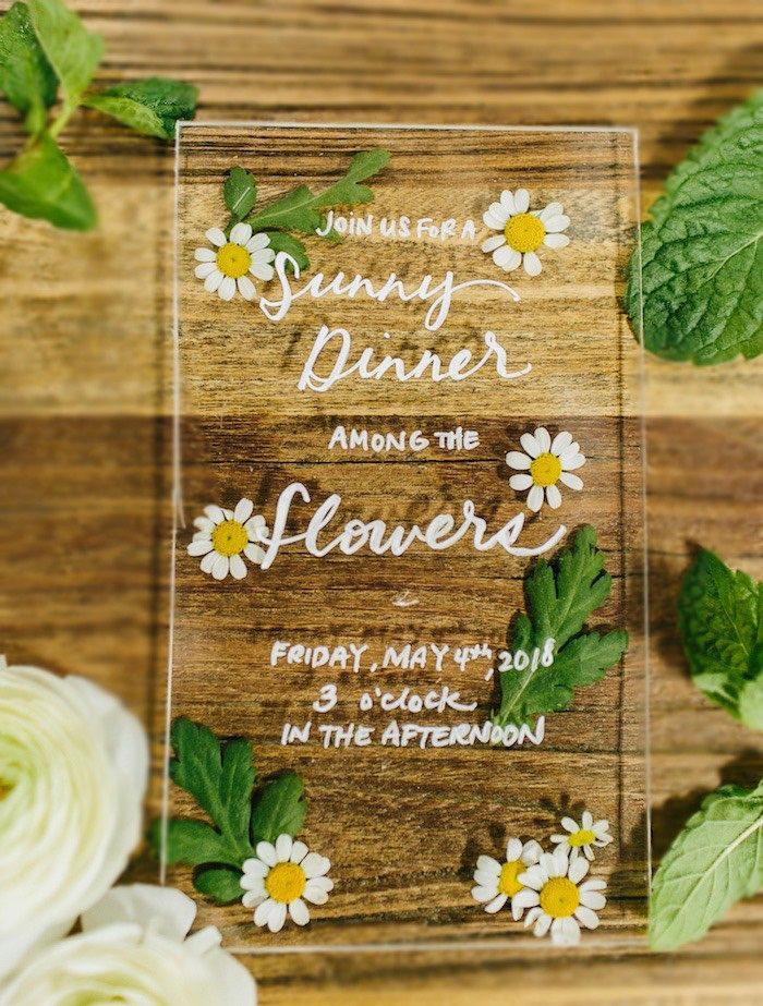 Acrylic Chamomile Invite from a Garden Chamomile Bridal Shower Tea Party on Kara's Party Ideas | KarasPartyIdeas.com (5)