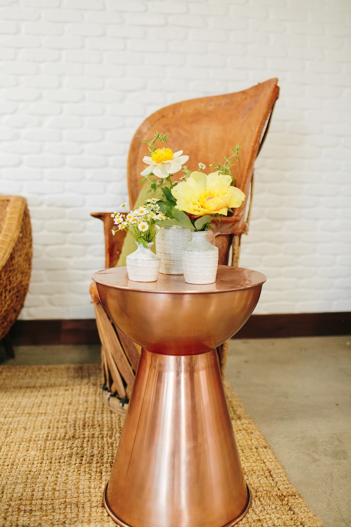 Copper Pedestal End Table from a Garden Chamomile Bridal Shower Tea Party on Kara's Party Ideas | KarasPartyIdeas.com (3)