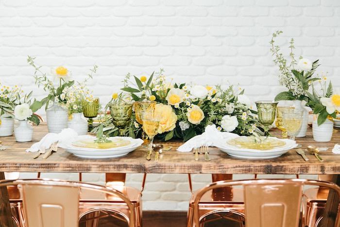 Garden Guest Table from a Garden Chamomile Bridal Shower Tea Party on Kara's Party Ideas | KarasPartyIdeas.com (30)