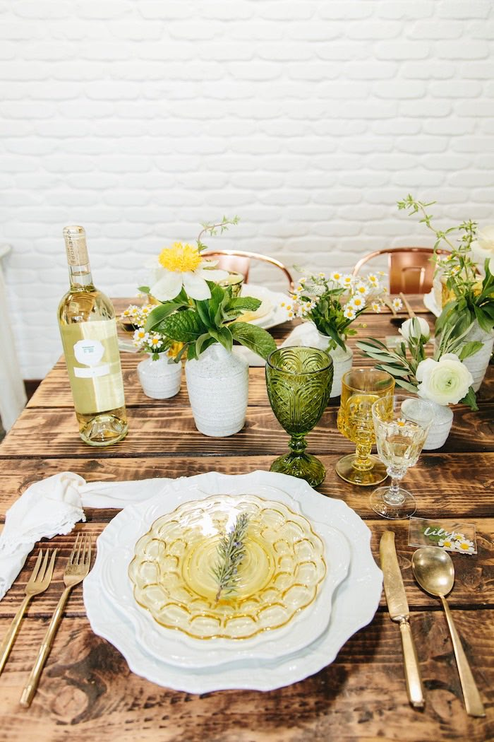 Rustic Garden Guest Table from a Garden Chamomile Bridal Shower Tea Party on Kara's Party Ideas | KarasPartyIdeas.com (28)
