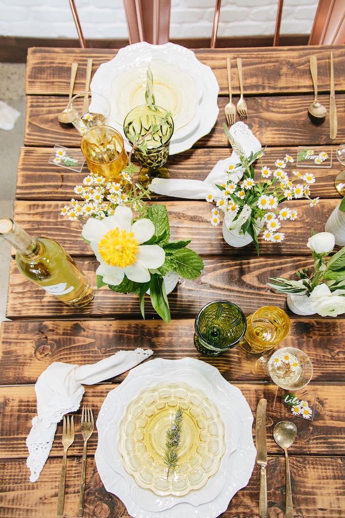 Rustic Garden Guest Tabletop + Place Settings from a Garden Chamomile Bridal Shower Tea Party on Kara's Party Ideas | KarasPartyIdeas.com (27)