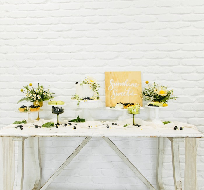 Chamomile-inspired Sweet Table from a Garden Chamomile Bridal Shower Tea Party on Kara's Party Ideas | KarasPartyIdeas.com (25)