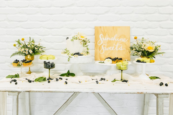 Chamomile-inspired Sweet Table from a Garden Chamomile Bridal Shower Tea Party on Kara's Party Ideas | KarasPartyIdeas.com (24)
