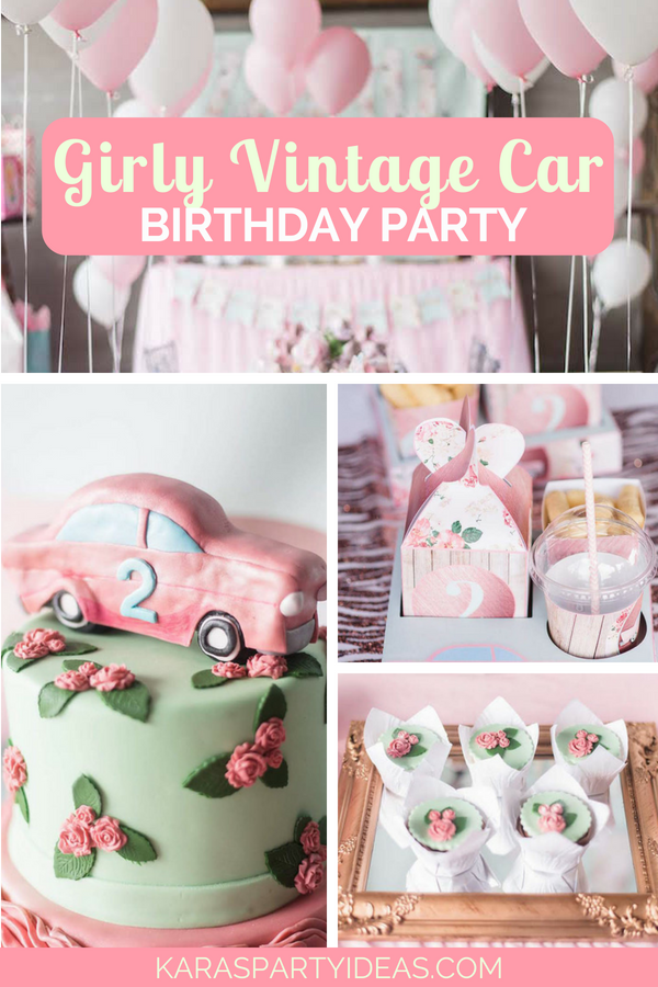 Girly Vintage Car Birthday Party via Kara_s Party Ideas - KarasPartyIdeas.com