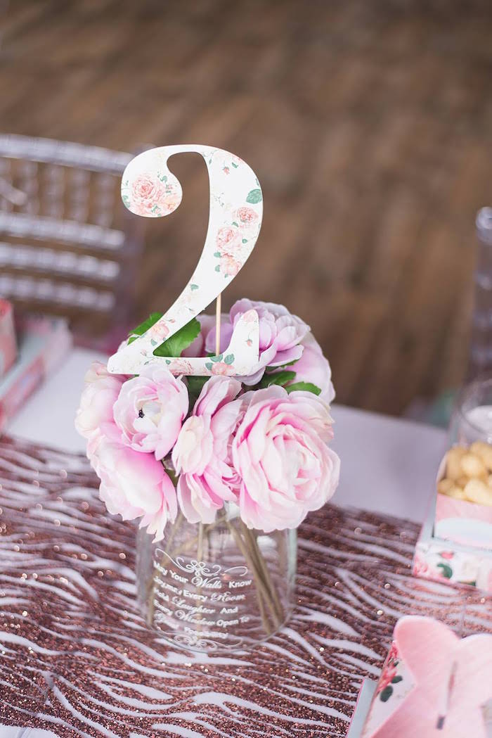Pink Flower Table Centerpiece from a Girly Vintage Car Birthday Party on Kara's Party Ideas | KarasPartyIdeas.com (16)