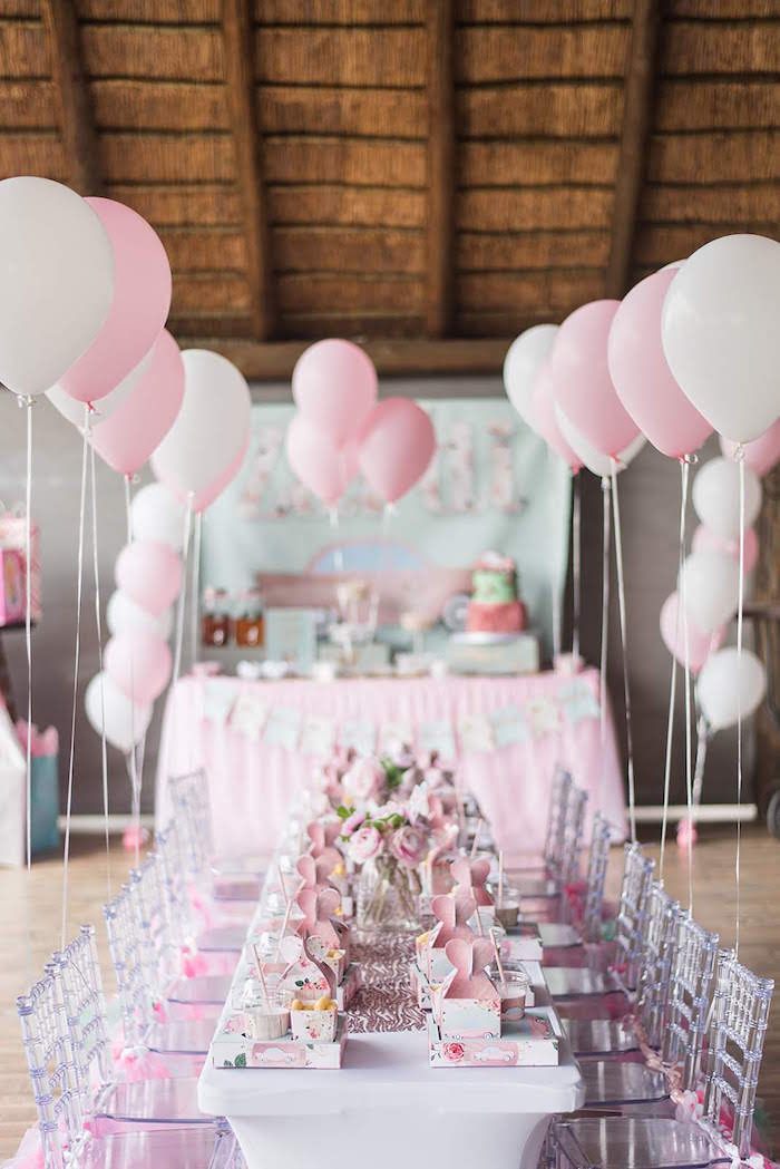 Pink Guest Table from a Girly Vintage Car Birthday Party on Kara's Party Ideas | KarasPartyIdeas.com (15)
