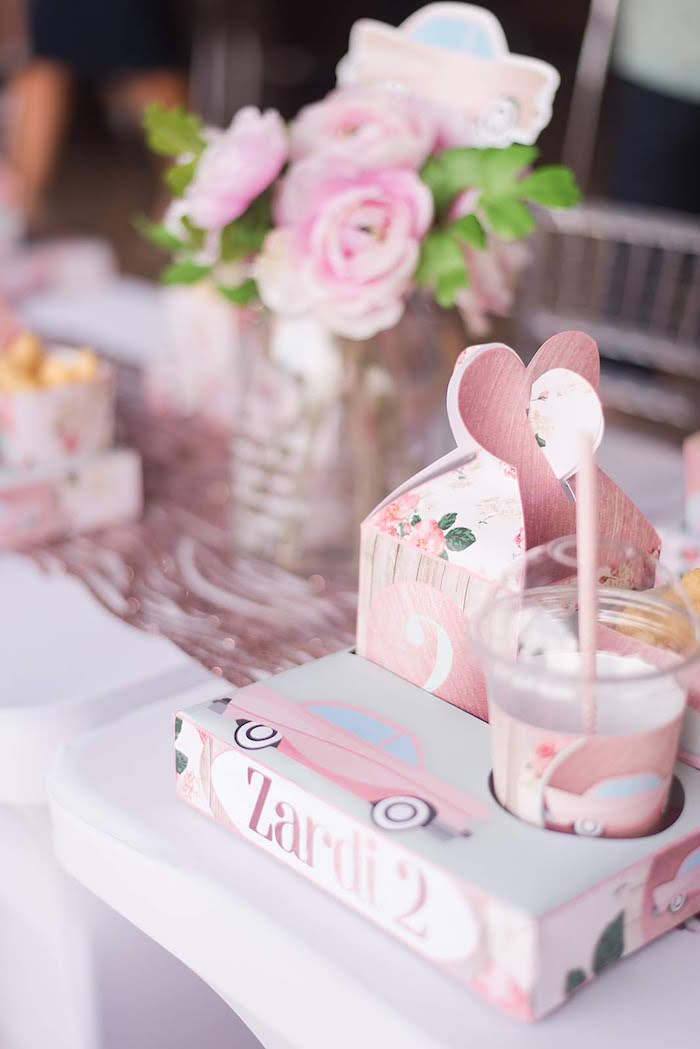 Place Setting from a Girly Vintage Car Birthday Party on Kara's Party Ideas | KarasPartyIdeas.com (14)
