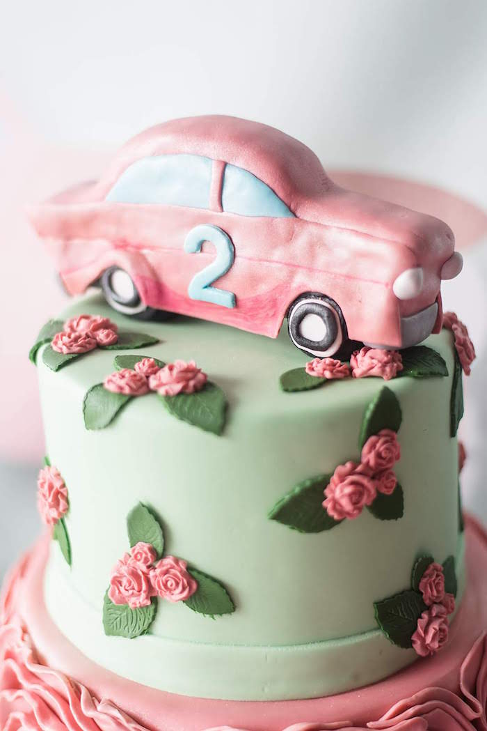 Vintage Car Cake Topper from a Girly Vintage Car Birthday Party on Kara's Party Ideas | KarasPartyIdeas.com (10)