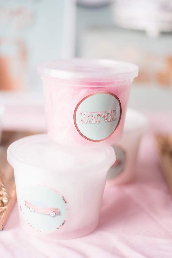 Cotton Candy from a Girly Vintage Car Birthday Party on Kara's Party Ideas | KarasPartyIdeas.com (9)