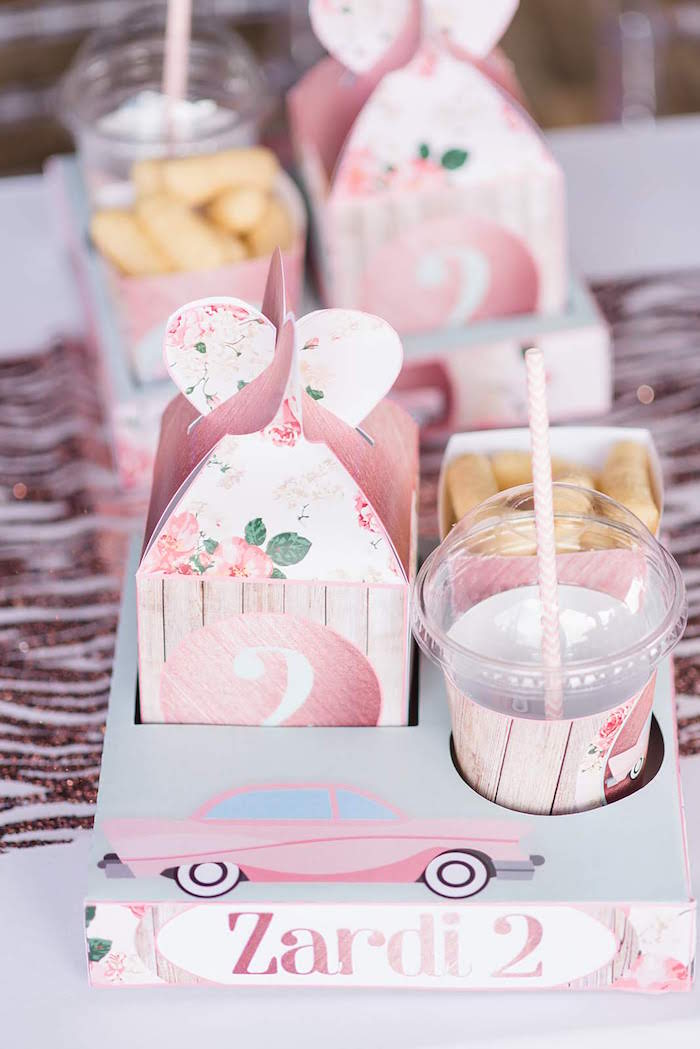 Vintage Car + Rose Food Tray + Box from a Girly Vintage Car Birthday Party on Kara's Party Ideas | KarasPartyIdeas.com (7)