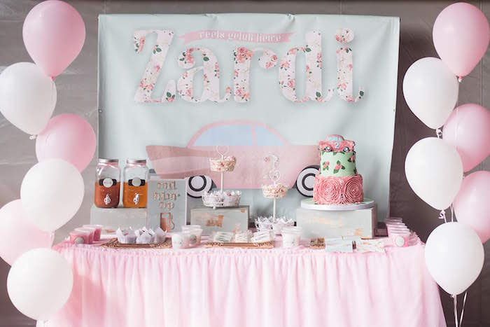 Girly Vintage Car Birthday Party on Kara's Party Ideas | KarasPartyIdeas.com (25)