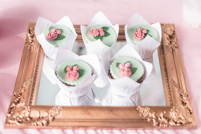 Rose Cupcakes from a Girly Vintage Car Birthday Party on Kara's Party Ideas | KarasPartyIdeas.com (6)