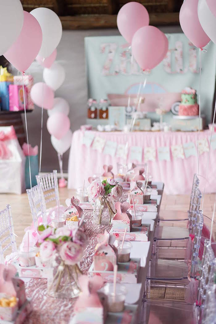 Pink Party Tables from a Girly Vintage Car Birthday Party on Kara's Party Ideas | KarasPartyIdeas.com (5)